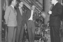 J.C. Horsman explaining mock-up of equipment used