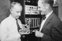 A.R. Jones and G. Cowper with radiation detection equipment.