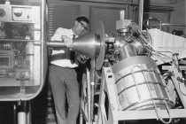 DC proton Ion Source Test Stand in Bldg. 145 (A.E. Weeden) 1966