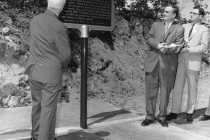 Dedication of the National Historic Society of Canada's plaque commemorating the ZEEP reactor (1966).