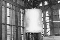 Removing the damaged NRX calandria (May 1953)